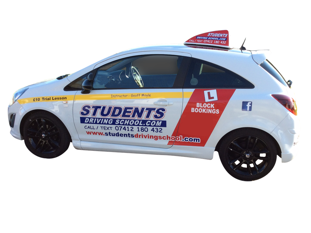 Typical students driving school training vehicle.
